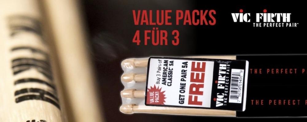"""Mehr Stock fürs Geld: Mit den """"4 für 3"""" Value Packs bietet Vic Firth für gängige Stock-Modelle ein Sparprogramm an"""